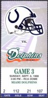 1998 NFL Dolphins at Colts Ticket Stub Payton Manning 1st Start
