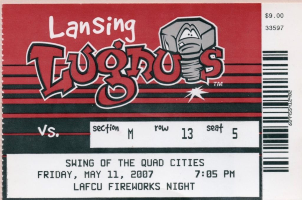 2007 MiLB Midwest League Quad Cities at Lansing ticket stub