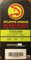 2017 NBA Bucks at Hawks ticket stub