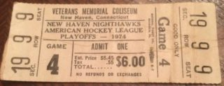 1974 AHL Hockey New Haven Nighthawks Game 4 Playoff Ticket Stub