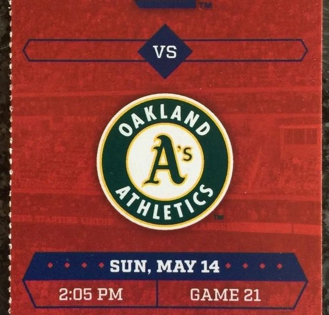 2017 MLB A's at Rangers ticket stub