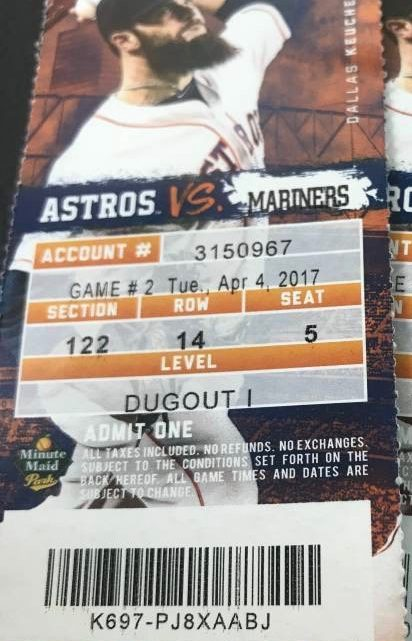 2017 MLB Mariners at Astros ticket stub