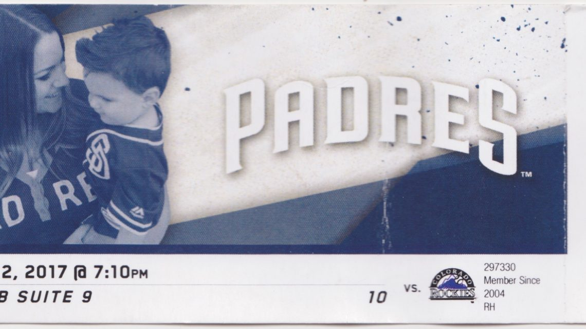 2017 MLB Rockies at Padres ticket stub