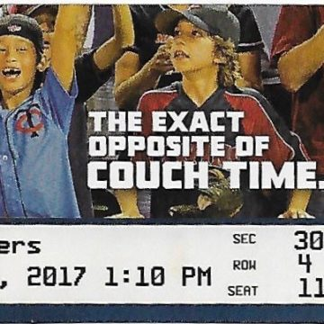 2017 MLB Tigers at Twins ticket stub