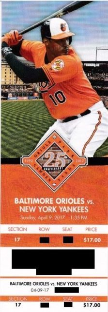 2017 MLB Yankees at Orioles ticket stub 3.50