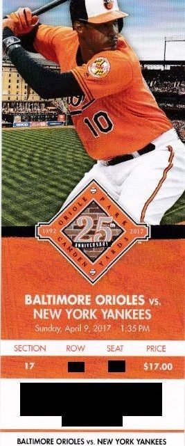 2017 MLB Yankees at Orioles ticket stub