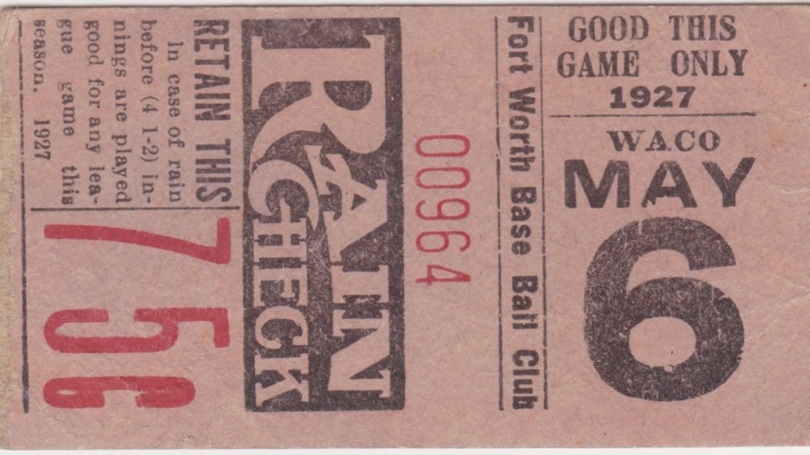 1927 MiLB Texas League Waco Cubs at Fort Worth Panthers ticket stub
