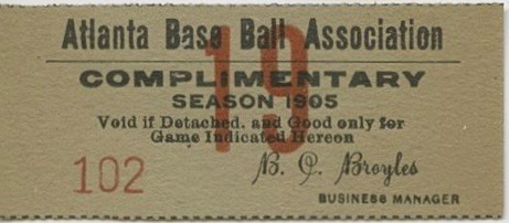 1905 MiLB Southern League Atlanta Crackers ticket stub