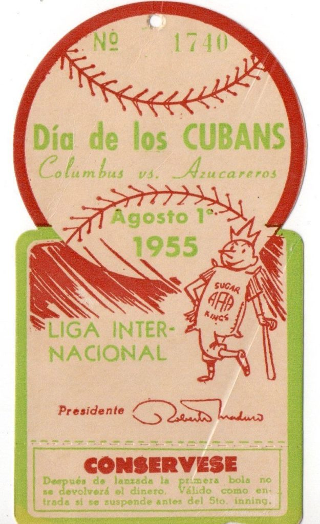 1955 MiLB Columbus at Havana ticket stub