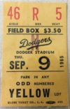1965 Sandy Koufax perfect game ticket stub