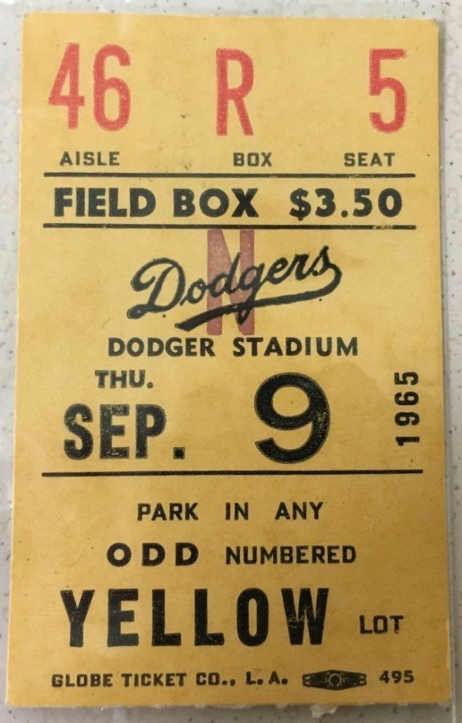 1965 MLB Cubs at Dodgers ticket stub Koufax perfect game