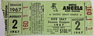 1967 PCL Seattle Angels ticket stub