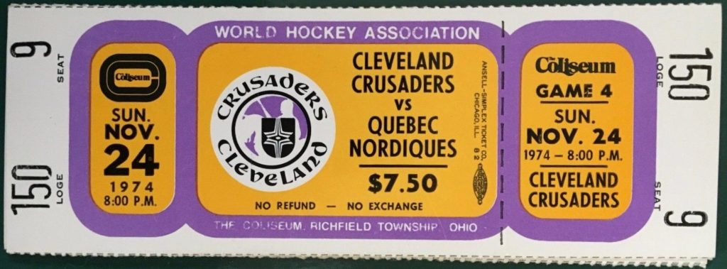 1974 WHA Nordiques at Crusaders ticket stub