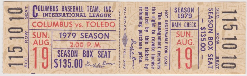 1979 MiLB Toledo Mud Hens at Columbus Clippers ticket stub