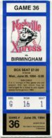 1994 MiLB Southern League Birmingham Barons at Nashville Xpress ticket stub