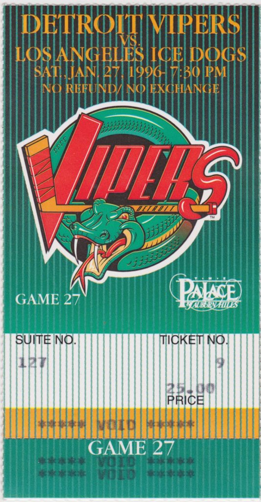 1996 IHL Ice Dogs at Vipers ticket stub