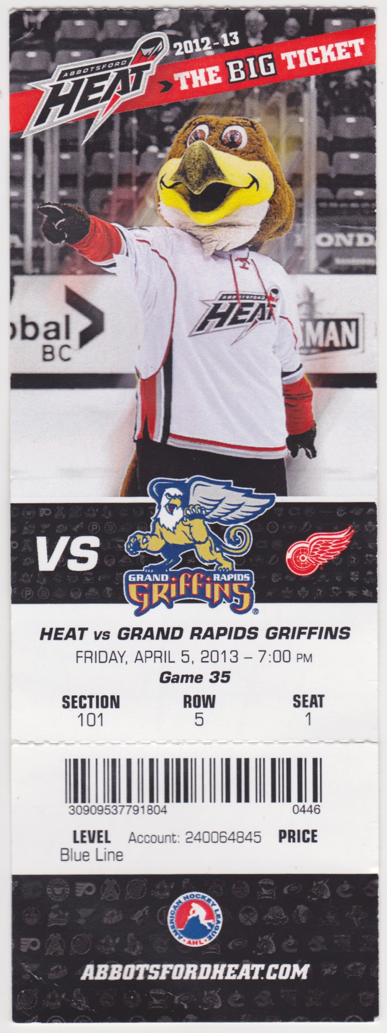 2013 AHL Grand Rapids Griffins at Abbotsford Heat ticket stub