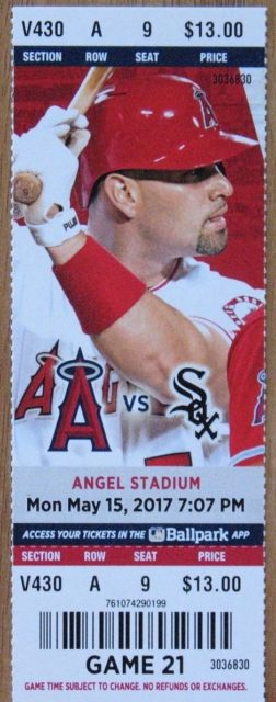 2017 MLB White Sox at Angels ticket stub Mike Trout HR