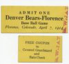 1914 Denver Bears vs Florence baseball ticket stub