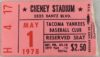 1978 MiLB Tacoma Yankees ticket stub