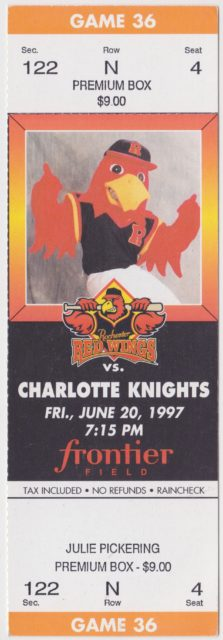 1997 MiLB International League Charlotte Knights at Rochester Red Wings ticket stub