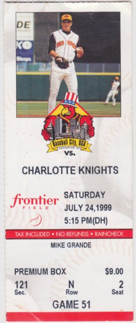 1999 MiLB International League Charlotte Knights at Rochester Red Wings ticket stub