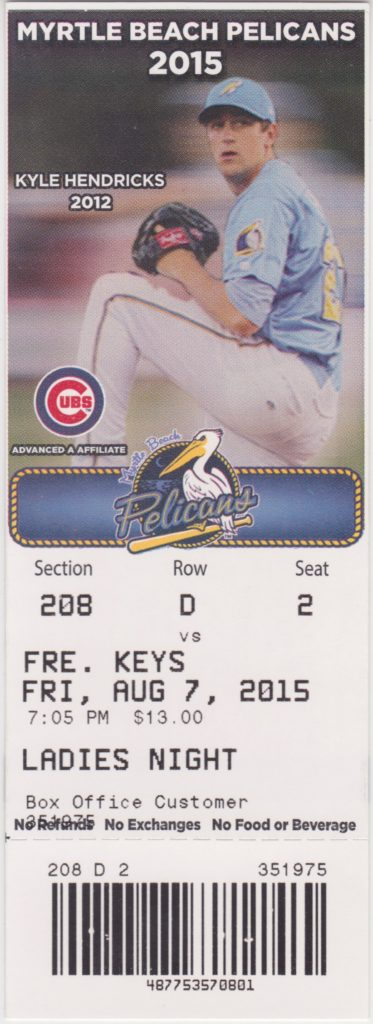 2015 MiLB Frederick Keys at Myrtle Beach Pelicans ticket stub