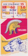 1957 NCAAF California ticket stub vs USC