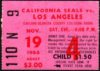 1966 WHL California Seals ticket stub vs Los Angeles