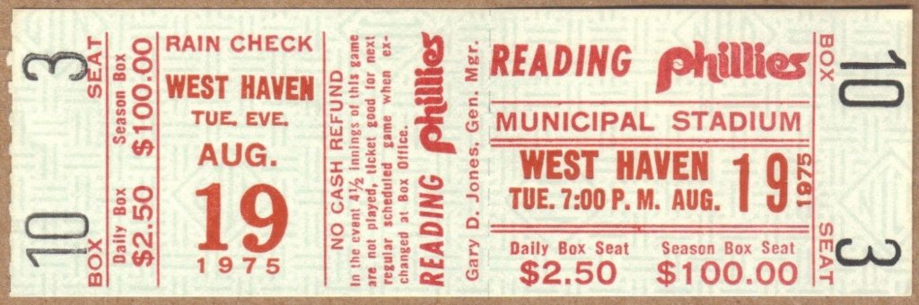 1975 MiLB Eastern League West Haven Yankees at Reading Phillies ticket stub