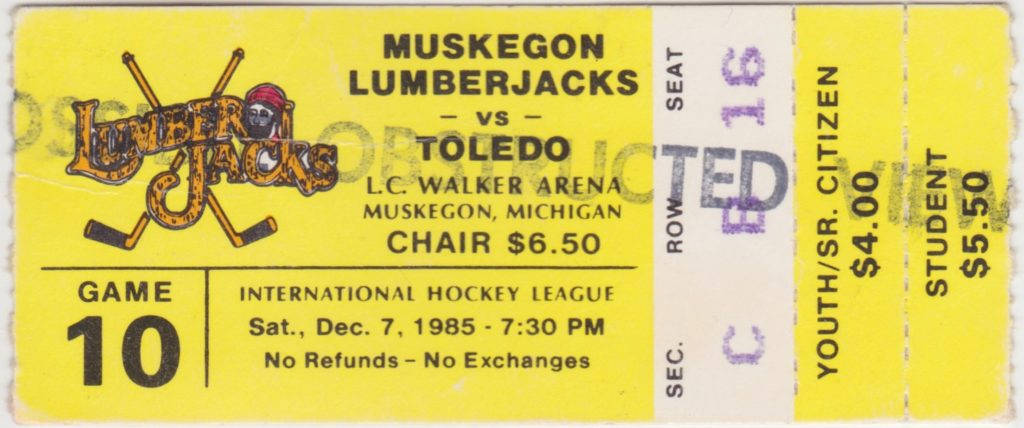 1985 IHL Toledo Goaldiggers at Muskegon Lumberjacks ticket stub