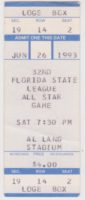 1993 MiLB Florida State League All Star Game ticket stub