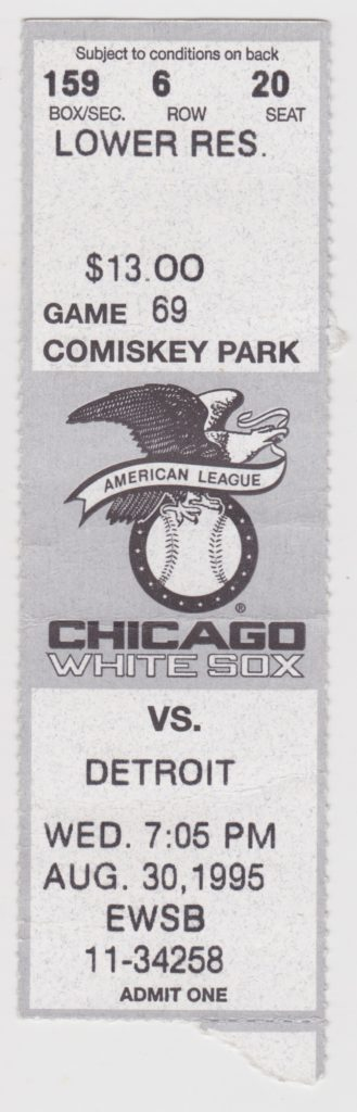 1995 MLB Tigers at White Sox ticket stub