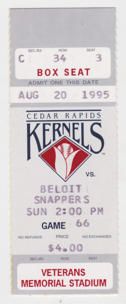 1995 MiLB Midwest League Beloit Snappers at Cedar Rapids Kernels ticket stub