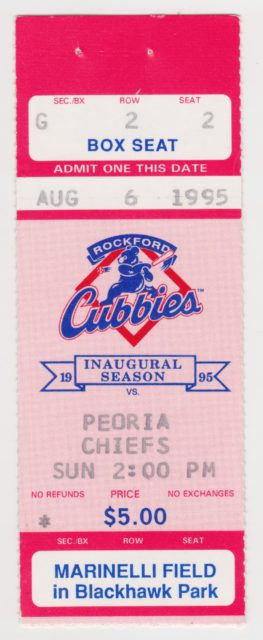 1995 MiLB Midwest League Peoria Chiefs at Rockford Cubbies ticket stub 2