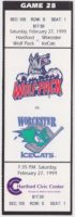 1999 AHL Worcester IceCats at Hartford Wolf Pack ticket stub