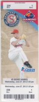 2012 Spokane Indians ticket vs Boise Hawks