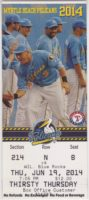 2014 Myrtle Beach Pelicans ticket stub vs Wilmington Blue Rocks