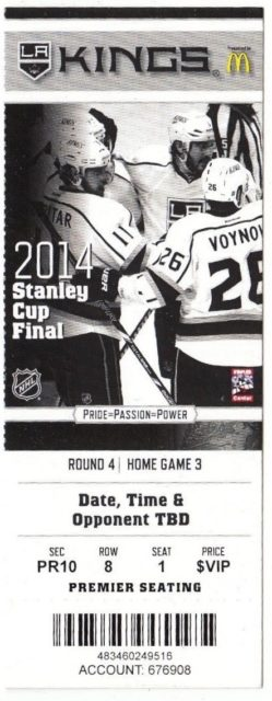 2014 NHL Stanley Cup Final Rangers at Kings ticket stub