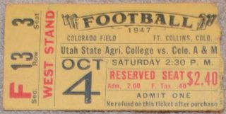 1947 NCAAF Utah State at Colorado State ticket stub