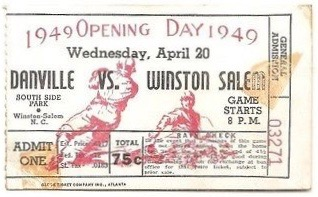 1949 MiLB Carolina League Danville Leafs at Winston Salem Cardinals ticket stub