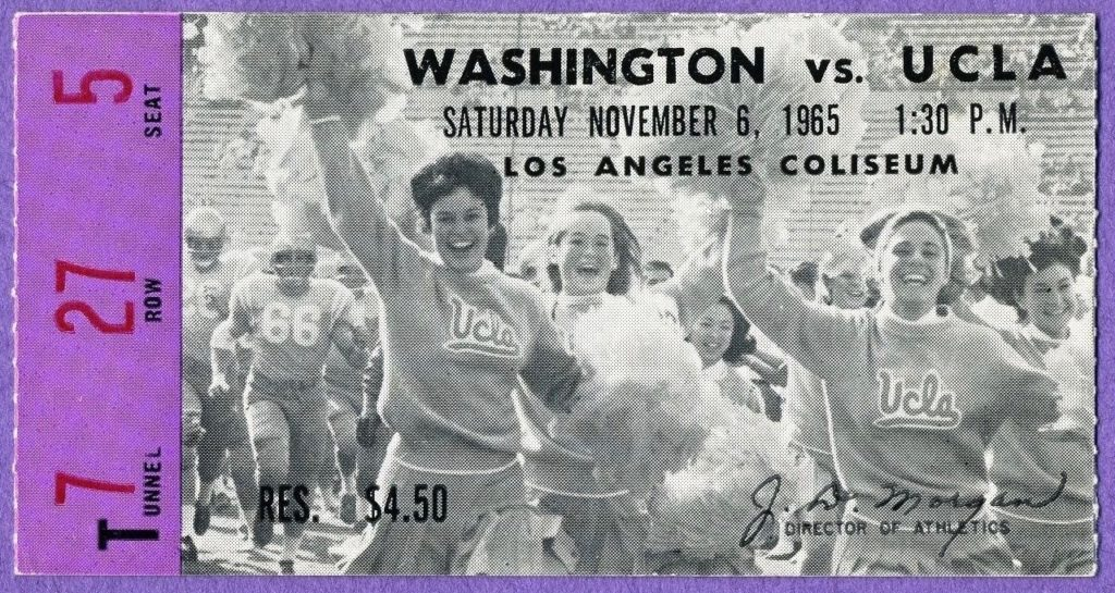 1965 NCAAF Washington at UCLA ticket stub