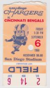 1968 NFL Bengals at Chargers ticket stub