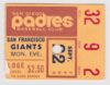 1969 MLB Giants at Padres ticket stub