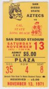 1971 NCAAF Cal State Long Beach at San Diego State ticket stub