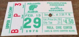 1975 NAHL Buffalo Norsemen at Philadelphia Firebirds ticket stub