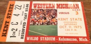 1975 NCAAF Kent State at Western Michigan ticket stub