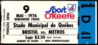 1976 MiLB Eastern League Bristol Red Sox at Quebec Metros ticket stub