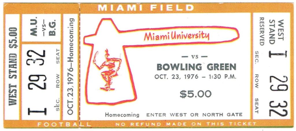 1976 NCAAF Bowling Green at Miami of Ohio ticket stub