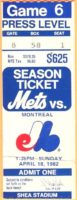 1982 MLB Expos at Mets ticket stub